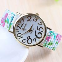 2015 New Fashion GENEVA  Print Rose Flower Women Dress Rhinestone stylish casual Quartz Watches  Wristwatchesorologio da polso