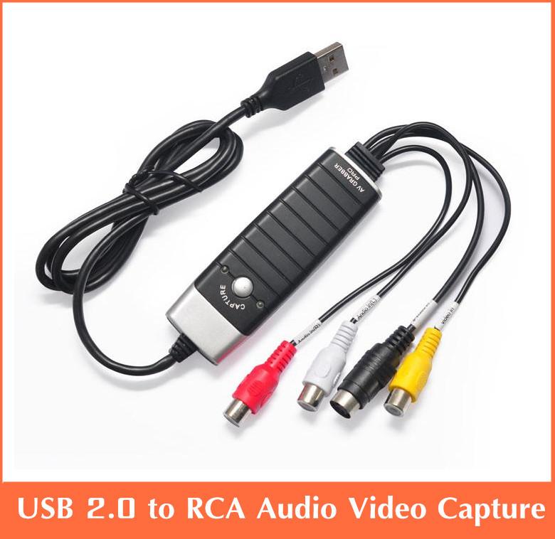 Free shipping USB 2.0 Video Audio Capture Card DVD/VHS/AV Grabber Adapter source from VHS, V8 AV(China (Mainland))