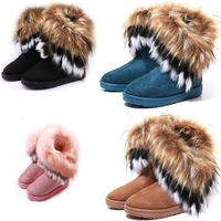 Hot New Style artificial fox rabbit feathers 4 Designs fur tassel womens snow boots height black pink brown EUR 36-40