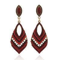 Fashion statement Vintage long Drop earrings European style drop-shaped hollow blue crystal earring for women jewelry ER-024727