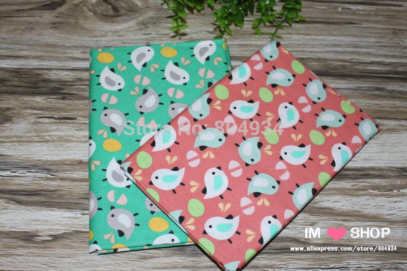 FreeShip 2 pieces 160cmx50cm The bird foraging Cotton Fabric Bedding Sheets Cloth Tilda Textile(China (Mainland))