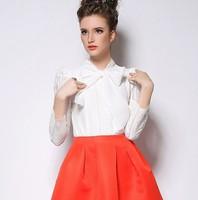 2015 Spring Women Blouses Fashion Elegant Blouses Bow Casual Lace Long Sleeve Blusas Femininas PH3027