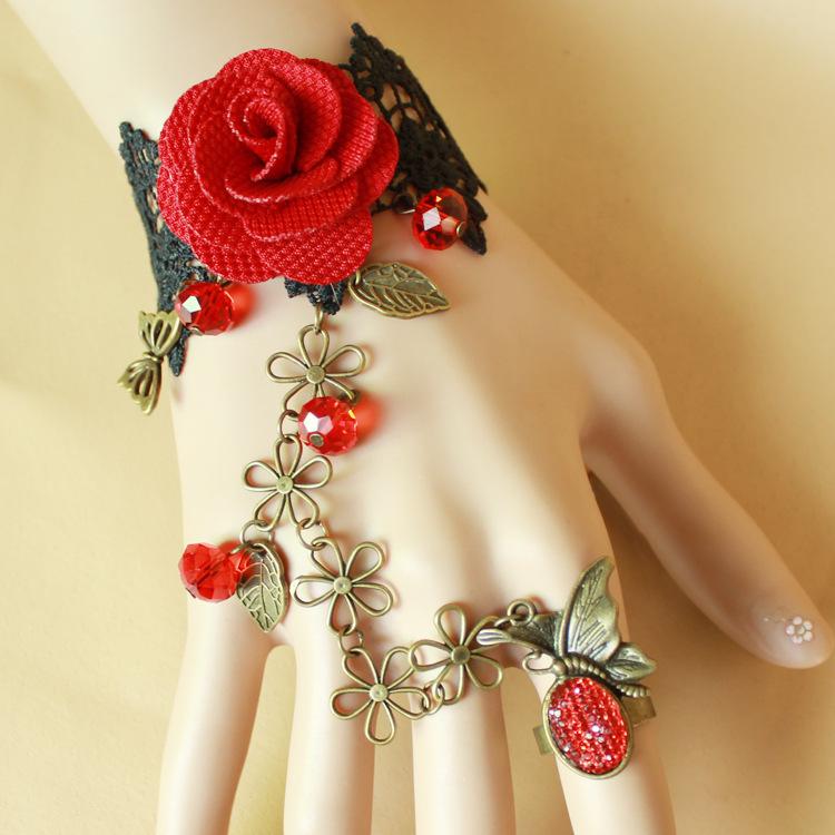 red flower alibaba express china online selling gothic black charm bracelet alibaba stocklot bracelet charms(China (Mainland))