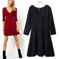Simplicity Design V-neck Knitted Base Dresses 2014 Autumn Single Breasted Mini Vestidos Three Quarter Sleeve Women Dress 8816