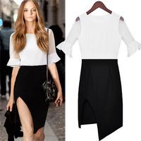 Sexy Women Dresses 2014 New Flare Sleeve Black And White Splicing Chiffon Dress Irregular Design Open Fork Hem Slim Dress 9196