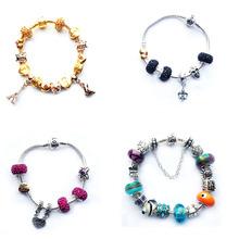 New 2015 Europe Fashion Gold Glass Charm Fits Pandora Beads Bracelets For women Adjustable DIY Bracelet Jewelry SL1160