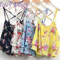 Blusas New Summer Women Blouses Women's Spaghetti Strap Blouse Sleeveless Flower Floral Print Chiffon Top For Female PH3037