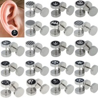 1pc Punk Gothic Jewelry Stainless Steel Round Plain Men Ear Stud Barbell Earring Fake Cheater Ear Plugs Gauge Body Jewelry