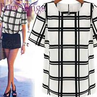 Blusas Women Blouses Fashion OL Style Women's Round Neck Black-and-White Grids Shirt Short Sleeve Shirt Blouse Size PH3038