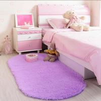 Oval Short Plush Carpet Soft Shaggy Cushion Kids Area Rug For Living Room Slip Resistant Yoga Door Mat 60*120cm