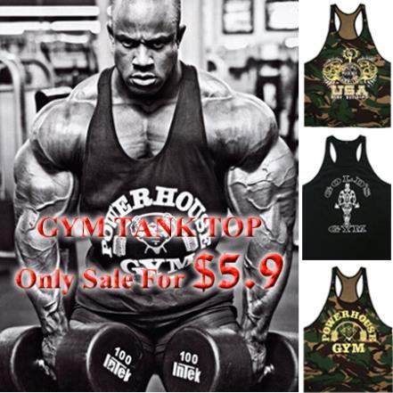 Cotton GYM Tank Top Men Bodybuilding Sport Fitness Tops Gold's Powerhouse USA Vest Muscle Singlet Men Stringer Plus Size 2XL(China (Mainland))