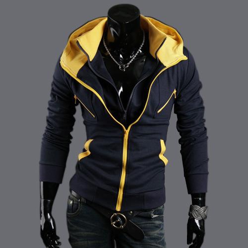 Hoodies Men Jacket 1shirt Zipper Custom Softshell Youth Tracksuit HoodieForeign trade new xxl men's jackets Slim spell color car(China (Mainland))