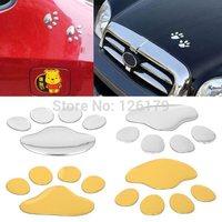 Hotsale 1 Piece Gold Silver Bear Paw Pet Animal Footprints Emblem Car Truck Window Decor 3D Sticker Decal
