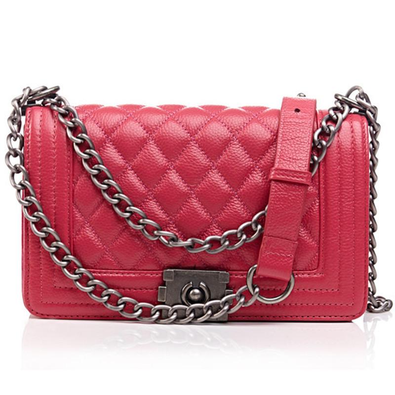 100% First Cow Single Shoulder Bag Genuine Leather Handbags Small Crossbody/Messenger Bags for Women Sac 2015 Chains Bucket Bag(China (Mainland))