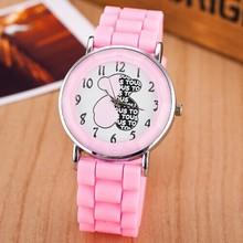 Caliente venta nuevo reloj de moda de silicona banda mujeres oso de dibujos animados patrón para mujer del reloj de moda reloj de cuarzo ocasional reloj Relojes