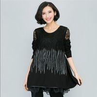 XL-4XL Patchwork Lace Casual Dresses Plus Size XXXXL 2015 Fat Women Big Size Clothing Loose Short Long sleeve Black Dress