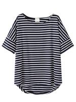 Black White Stripes Short Sleeve Loose Casual High Low T-shirt 2015 New Women Fashion
