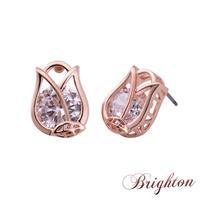 New Luxury Rose Gold Flower Stud Earrings Embedded Shiny Crystal  For Women Flower Earrings Bijouterie
