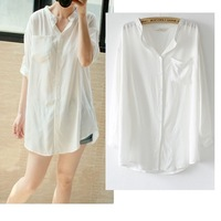2015 Spring and summer women's medium-long white shirt brief loose elegant long-sleeve plus size sun protection women shirt