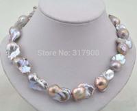 "18""30mm baroque lavender reborn keshi pearl necklace"