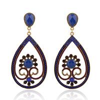 Fashion statement Vintage big Drop earrings European style drop-shaped hollow blue crystal earring for women jewelry ER-025494