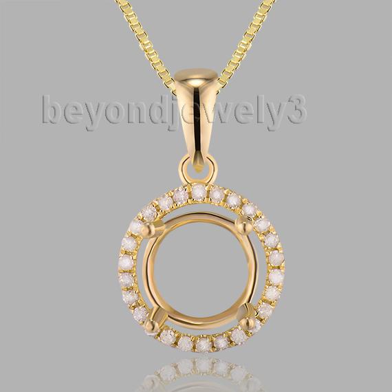 New!!! Wedding Jewelry 14Kt Yellow Gold Round 7mm Simple Semi Mount Pendant E0053(China (Mainland))