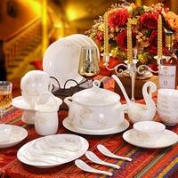 56 bone china dinnerware set western-style chinaware plate dishes set flower basket