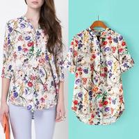 2015  women's lady's  pullover shirt fashion women's floral print shirt  blouse YHS010  S,M,L