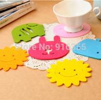 free shipping Creative Home DIY candy colored non-slip felt cup mat insulation mat bowls mat #5125