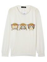 White Cute Monkey Print Long Sleeve Loose Casual Sweatshirt 2015 Spring New Women Fashion