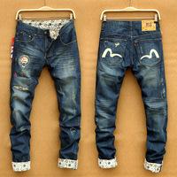 Winter new burst waist trousers Edison Chan brand mascot jeans small straight slim in the dark