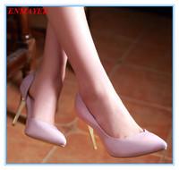 ENMAYER spool heels 2015 platform pumps pointed toe sexy for spring-autumn women pumps four colors size 34-39 shoes for ladies