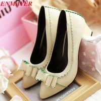 ENMAYER  6.5 CM New 2015 Spring Autumn Women PU Platform High Heel Shoes, Ladies High Heels Pumps Big Size 34-47Sexy Hot