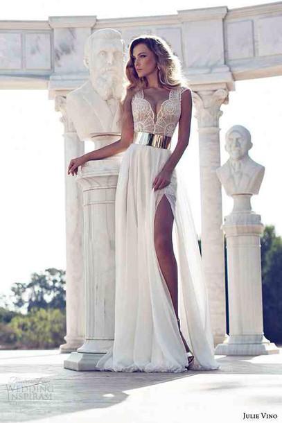 Ivory gold wedding dress