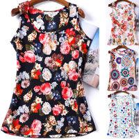 2015 Blusas Tank Tops Shirt Vest Camisole Chiffon Flower Print Cheap Women Clothes China Casual Sleeveless Camis Regata Feminina