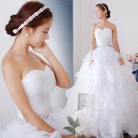 2015 New Fashion Modest Elegant Bridal Appliqued Soft Tulle Custom Made Wedding Dress With Crystal  2081