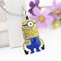 5pcs/lot Children Zinc Alloy Rhinestone Cartoon Descipable Me Minions Pendants Necklace Kids Ball Chain Necklace Jewelry