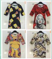 Hot model 3D clothing new design for dress women sheath beach dress cartoon/lady/animal 3d casual dresses free shipping