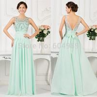 Princess Grace Karin Mint Green Beads Chiffon Long Evening dress Open Back Modest Prom Evening Gowns Sleeveless Formal Gown 7532