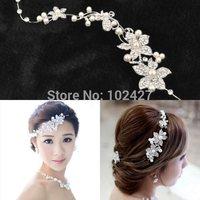 2015 New Hotsale Luxury Silver Rhinestone Bridal Wedding Flower Pearls Headband Hair Clip Comb Women Jewelry Free Ship