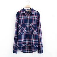 2015 Fashion  blue plaid thickening long-sleeve shirt  turn-down collar women's  cotton shirt YHS05 S,M,L