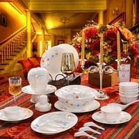 Jingdezhen ceramic 56 bone china dinnerware set porcelain tableware bowl plate dish set microwave oven