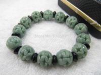 FINE Certified A Grade Jade (Green jadeite) Vogue Carved Round Bead Bracelet