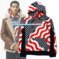 Brand New Winter Tide Brand Suprem Hoodies Skateboard Sport Camouflage Stripe Star Flag Printed Hoodies Pullover Sweatshirt
