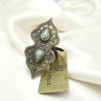 2015 New Vintage Bohemian Rings Women Australian Brand Resizable Silver Plated Natural Stone Green Design Wedding Band