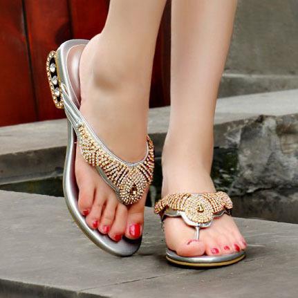(Gold / silver) Fashion 2015 Women's Brand designer summer Rhinestone Slides Sheepskin Sandals shoes for women(China (Mainland))
