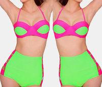 Womens Vintage High Waist Bikini Bra Set Bandage Swimwear Swimsuit Bathingsuit