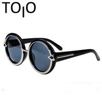 2015 Hot Brand Design Fashion Great circle box Vintage Sunglasses Personality Punk Alloy Arrow sun glasses female Wholesale PT32