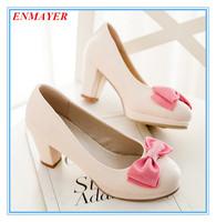 ENMAYER square heels 2015 platform pumps round toe sweet for spring-autumn women pumps three colors size 34-42 shoes for ladies