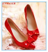 ENMAYER spool heels 2015 platform pumps pointed toe bowtie for spring-autumn women pumps four colors size 34-39 shoes for ladies